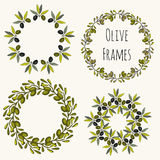 Olive frames hand drawn set. Vector label design collection Royalty Free Stock Image