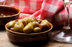 Olive fruit on tapas time Royalty Free Stock Photography