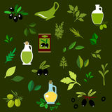 Olive fruits and herbs flat icons Royalty Free Stock Photo