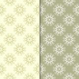 Olive green floral backgrounds. Set of seamless patterns Royalty Free Stock Photo