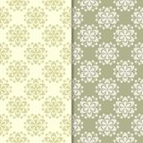 Olive green floral backgrounds. Set of seamless patterns Stock Photography