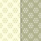 Olive green floral backgrounds. Set of seamless patterns. For textile and wallpapers Stock Images
