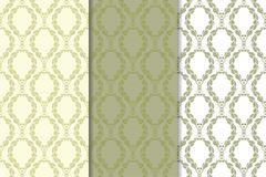 Olive green floral designs. Set of seamless patterns. For textile and wallpapers Stock Images