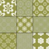 Olive green floral ornaments. Collection of seamless patterns Stock Photo