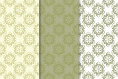 Olive green floral seamless ornaments. Set of vertical patterns. For textile and wallpapers Stock Photography