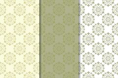 Olive green floral seamless ornaments. Set of vertical patterns. For textile and wallpapers Royalty Free Stock Images