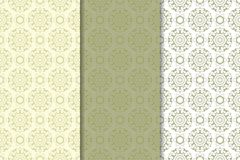 Olive green floral seamless ornaments. Set of vertical patterns. For textile and wallpapers Royalty Free Stock Image