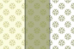 Olive green floral seamless ornaments. Set of vertical patterns. For textile and wallpapers Royalty Free Stock Photo