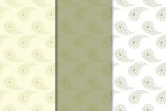 Olive green floral seamless ornaments. Set of vertical patterns. For textile and wallpapers Stock Photo