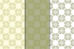 Olive green floral seamless ornaments. Set of vertical patterns. For textile and wallpapers Royalty Free Stock Photos