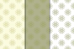Olive green floral seamless ornaments. Set of vertical patterns. For textile and wallpapers Stock Photos