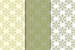 Olive green floral seamless ornaments. Set of vertical patterns. For textile and wallpapers Stock Images