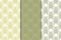 Olive green floral seamless ornaments. Set of vertical patterns. For textile and wallpapers Royalty Free Stock Photography