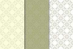 Olive green floral seamless ornaments. Set of vertical patterns. For textile and wallpapers stock illustration