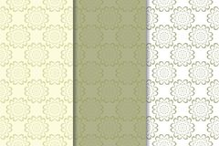 Olive green floral seamless ornaments. Set of vertical patterns. For textile and wallpapers vector illustration