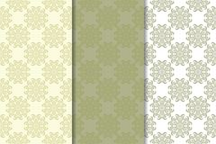 Olive green floral seamless ornaments. Set of vertical patterns. For textile and wallpapers royalty free illustration