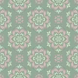 Olive green floral seamless pattern with pale pink elements. Background with flower designs. For wallpapers, textile and fabrics Stock Photos