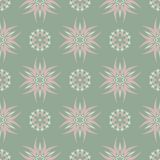 Olive green floral seamless pattern with pale pink elements. Background with flower designs. For wallpapers, textile and fabrics Royalty Free Stock Photo