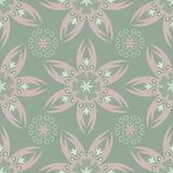 Olive green floral seamless pattern with pale pink elements. Background with flower designs. For wallpapers, textile and fabrics Stock Image