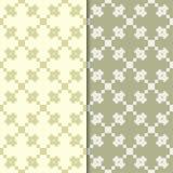 Olive green geometric ornaments. Set of seamless patterns stock illustration