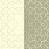 Olive green geometric ornaments. Set of seamless patterns. For web, textile and wallpapers Stock Photo