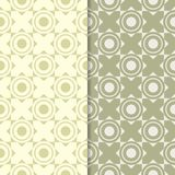 Olive green geometric set of seamless patterns. For web, textile and wallpapers Royalty Free Stock Image