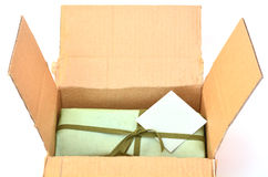 Olive green gift box Royalty Free Stock Image