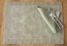 Olive Green Rectangular Placemat con progettazione della farfalla Fotografie Stock