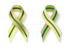 Olive and green  ribbon awareness Stock Photo