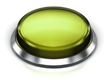 Olive green round button. Creative abstract internet web design and online communication business concept: 3D render illustration of the olive green glossy push Royalty Free Stock Image