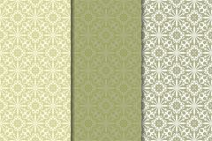 Olive green set of floral ornaments. Seamless patterns Stock Photos