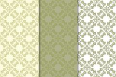 Olive green set of floral ornaments. Seamless patterns Stock Photography