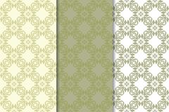 Olive green set of floral ornaments. Seamless patterns. For textile and wallpapers Stock Photos