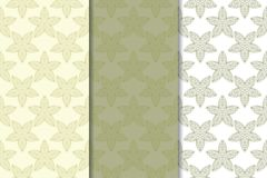 Olive green set of floral ornaments. Seamless patterns. For textile and wallpapers Royalty Free Stock Photography