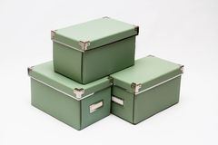 Olive green storage boxes in a stack Stock Photography