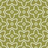 Olive green and white geometric ornament. Seamless pattern. For web, textile and wallpapers Royalty Free Stock Images