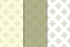 Olive green and white geometric ornaments. Set of seamless patterns. Olive green and white geometric ornaments. Set of vertical seamless patterns for web Stock Image