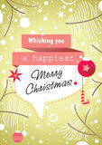 Olive Green Xmas Retro Card Stock Photo