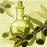 Olive and jar with oil Royalty Free Stock Images