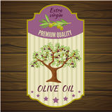 Olive Label On Wood Royalty Free Stock Image