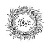 Olive laurel wreath and branch hand drawn sketch hand drawn illustration Royalty Free Stock Photo