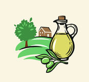 Olive with leaves and bottle. Olive with leaves vector label on beige background Royalty Free Stock Photo