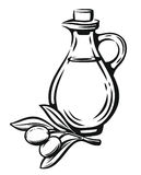 Olive with leaves and bottle. Olive with leaves vector label on white background Stock Photo