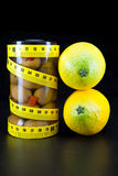 Olive and lemons support a harmonous figure. Healthy food -  olive and lemons support a harmonous figure Stock Image