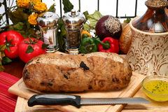 Olive Loaf on Cutting Board stock photography
