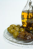 Olive and oil. Greek green and black olives stock photo