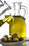 Olive oil. Olives and olive oil serving Royalty Free Stock Photos