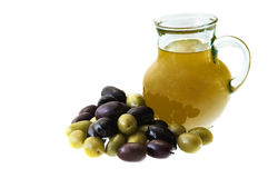 Olive Oil. And olives isolated on white background Royalty Free Stock Image