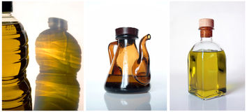 Olive oil. Triptych of olive oil Royalty Free Stock Photos