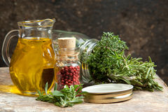 Olive Oil And Herbs Royalty Free Stock Photo